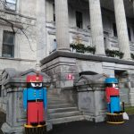 Wooden soldiers guarding the Old Court House