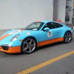 Seen on the Street:  modified Porshe 911 on it's way for a ride on the Formula 1 race track!