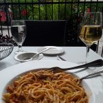 Lunch at Old Port steakhouse.  Lobster linguine and a glass of white wine, at a great price!